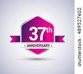 logo 37th anniversary... | Shutterstock .eps vector #489527602