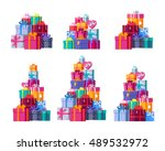 six big pile of colorful... | Shutterstock .eps vector #489532972