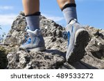 close up of hiking boots and...   Shutterstock . vector #489533272