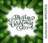 merry christmas hand lettering...   Shutterstock .eps vector #489533926