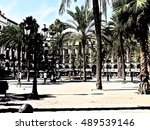 spain  barcelona  royal square  | Shutterstock . vector #489539146