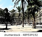 spain  barcelona  royal square  | Shutterstock . vector #489539152