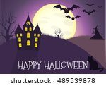happy halloween house scary on... | Shutterstock . vector #489539878
