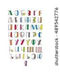 kazakh alphabet. multilingual... | Shutterstock .eps vector #489542776