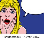 pop art surprised blond woman... | Shutterstock .eps vector #489543562