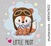 Cute Cartoon Fox In A Pilot Hat