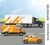 orange transport advertising... | Shutterstock .eps vector #489548788