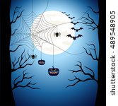 happy halloween poster scary on ... | Shutterstock . vector #489548905