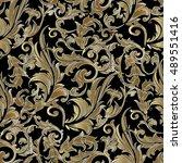 elegant black baroque damask... | Shutterstock .eps vector #489551416
