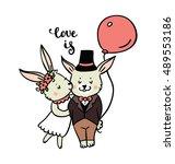 cute rabbit. hand drawn vector... | Shutterstock .eps vector #489553186