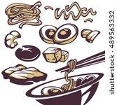 ramen ingredients  all for your ... | Shutterstock .eps vector #489563332