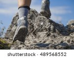 close up of hiking boots and...   Shutterstock . vector #489568552