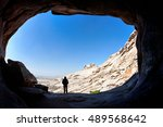 man silhouette standing in... | Shutterstock . vector #489568642