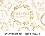 set of hand drawn ink painted... | Shutterstock .eps vector #489570676
