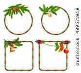 set of christmas frames for... | Shutterstock .eps vector #489572656