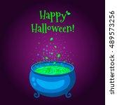 happy halloween poster . the... | Shutterstock .eps vector #489573256
