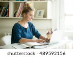 portrait of young beautiful... | Shutterstock . vector #489592156