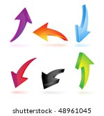 arrow 3d. set of curved pointers | Shutterstock .eps vector #48961045
