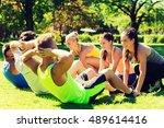 fitness  sport  friendship and... | Shutterstock . vector #489614416