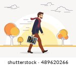 business man going to his work... | Shutterstock .eps vector #489620266