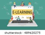 e learning concept illustration ... | Shutterstock .eps vector #489620275
