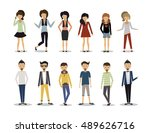 group of people standing on... | Shutterstock .eps vector #489626716