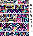 retro colors tribal vector... | Shutterstock .eps vector #489632152