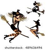 witch on broom  flight witch ... | Shutterstock .eps vector #489636496