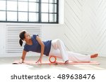 fitness. woman during pilates... | Shutterstock . vector #489638476