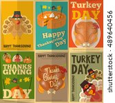 happy thanksgiving greeting... | Shutterstock .eps vector #489640456