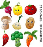 cartoon vegetables collection... | Shutterstock . vector #489640912