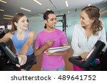 two women discussing progress... | Shutterstock . vector #489641752