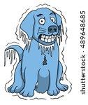 freezing cold dog | Shutterstock .eps vector #489648685