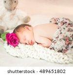 sweet newborn baby girl asleep... | Shutterstock . vector #489651802