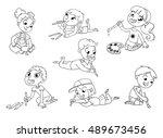 little children draw pictures... | Shutterstock .eps vector #489673456