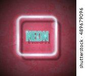 vector neon frame with type ... | Shutterstock .eps vector #489679096