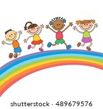 kids jumping with joy on a... | Shutterstock .eps vector #489679576