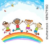 kids jumping with joy on a... | Shutterstock .eps vector #489679582