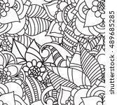 zentangle abstract flower.... | Shutterstock .eps vector #489685285