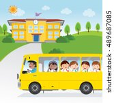 children going to school by bus.... | Shutterstock .eps vector #489687085