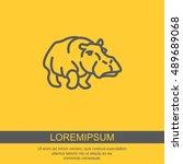 web line icon. hippo  wild... | Shutterstock .eps vector #489689068