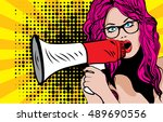 pop art woman with megaphone.... | Shutterstock .eps vector #489690556