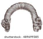 man wig gray hair curls.... | Shutterstock .eps vector #489699385