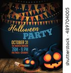 halloween party background with ... | Shutterstock .eps vector #489704005
