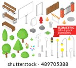 isometric city and park... | Shutterstock .eps vector #489705388