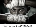 thai boxing  muay chaiya  is... | Shutterstock . vector #489708412