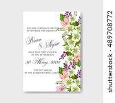 romantic pink peony bouquet... | Shutterstock .eps vector #489708772
