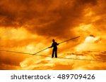 wandering tightrope walker... | Shutterstock . vector #489709426