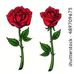 Stock vector red rose cartoon style on white background 489709675