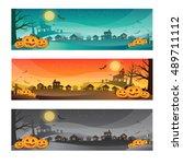 halloween banner concept  ... | Shutterstock .eps vector #489711112